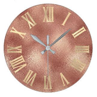 Relógio Grande Pêssego cor-de-rosa Numers romano de vidro do