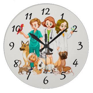 Relógio Grande Pessoas veterinárias do fundo