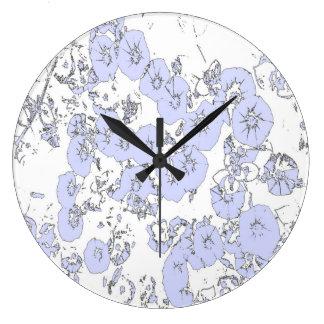 Relógio Grande Petúnias azuis