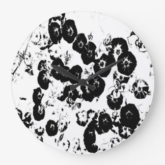 Relógio Grande Petúnias pretos