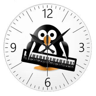 Relógio Grande Pinguim com piano