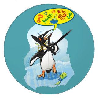 Relógio Grande Pinguim de rei desesperado que diz palavras más