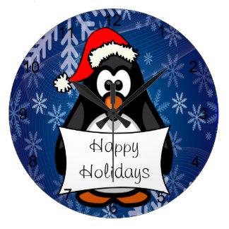 Relógio Grande Pinguim do Natal