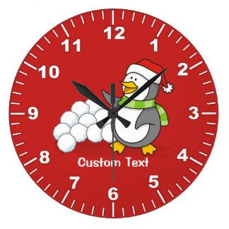 Relógio Grande Pinguim do Natal com ondulação das bolas da neve