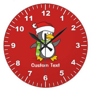 Relógio Grande Pinguim do Natal que anda na neve