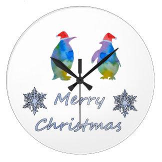 Relógio Grande Pinguins do Natal