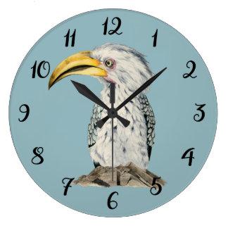 Relógio Grande Pintura Amarelo-Faturada da aguarela do Hornbill