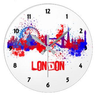 Relógio Grande Pintura artística azul branca vermelha Splat da