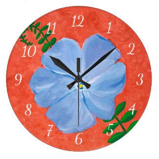 Relógio Grande Pintura azul da flor da videira do Vinca no terra
