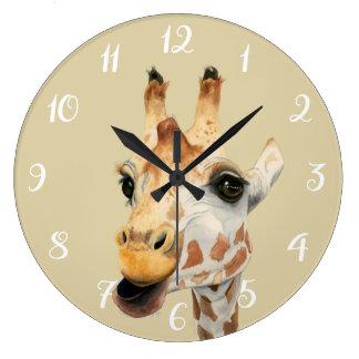 """Relógio Grande Pintura da aguarela do girafa da """"mastigação"""""""