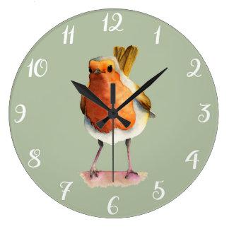 Relógio Grande Pintura da aguarela do pássaro do pisco de peito