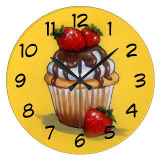 Relógio Grande Pintura do cupcake, chocolate, morangos, arte