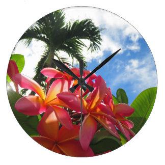 Relógio Grande Plumeria havaiano