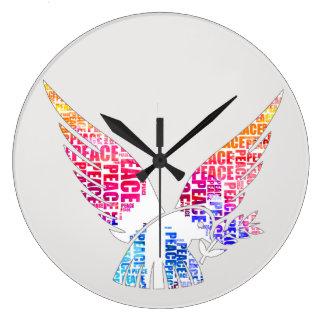 Relógio Grande Pomba da paz. Aguarela do Hippie da harmonia