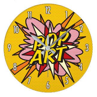 Relógio Grande Pop art da banda desenhada