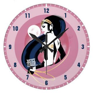 Relógio Grande Pop art do perfil da mulher maravilha da liga de