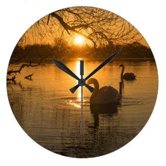 Relógio Grande Por do sol com cisne