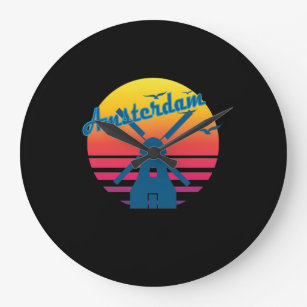 5973b8baffa Relógio Grande Por do sol retro de Amsterdão 2 do vintage