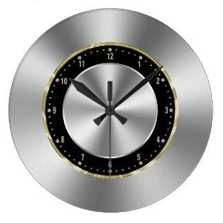 Relógio Grande Prata-Cinzas brilhantes do falso de aço inoxidável