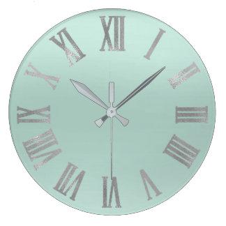 Relógio Grande Prata Numers romano metálico mínimo do Aqua de