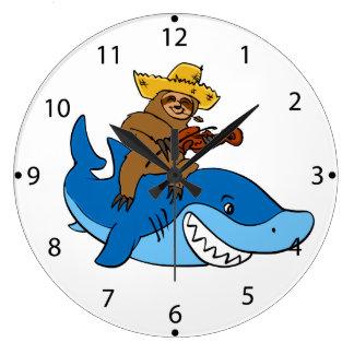 Relógio Grande Preguiça do aldeão montada no tubarão