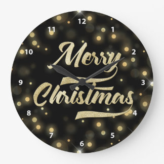 Relógio Grande Preto do ouro de Bokeh do brilho do Feliz Natal