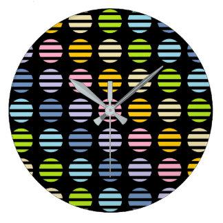 Relógio Grande Preto Pastel das bolinhas e das listras do