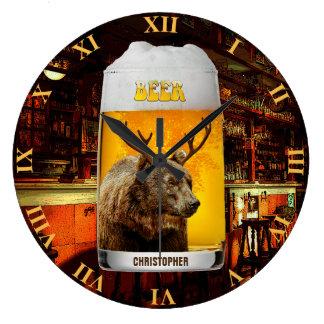 Relógio Grande Proprietário do bar do vidro de cerveja dos