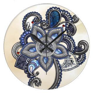 Relógio Grande Pulso de disparo azul da jóia