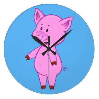 Relógio Grande Pulso de disparo bonito do porco dos desenhos