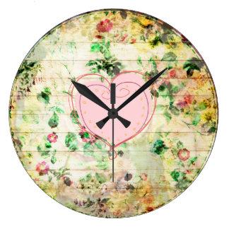 Relógio Grande Pulso de disparo de madeira floral da grão do