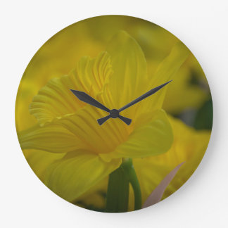 Relógio Grande Pulso de disparo de parede amarelo dos daffodils