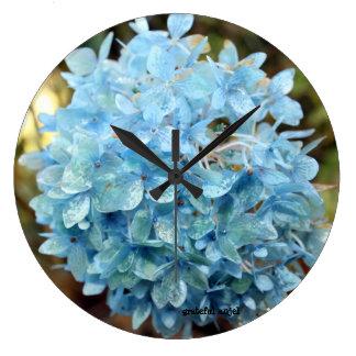 Relógio Grande Pulso de disparo de parede azul do hydrangea