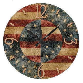 Relógio Grande Pulso de disparo de parede da bandeira americana