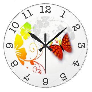 Relógio Grande pulso de disparo de parede da borboleta