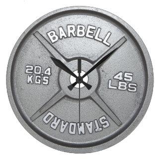 Relógio Grande Pulso de disparo de parede da placa do Barbell