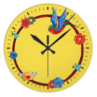 Relógio Grande Pulso de disparo de parede do Bluebird de Boho