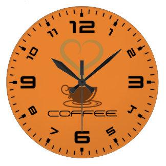 Relógio Grande Pulso de disparo de parede do café redondo