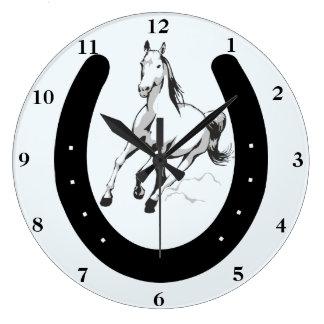 Relógio Grande Pulso de disparo de parede do cavalo & da