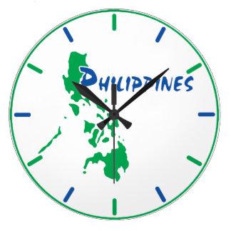 Relógio Grande Pulso de disparo de parede do mapa de Filipinas