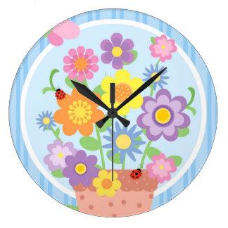 Relógio Grande Pulso de disparo de parede do pote de flor