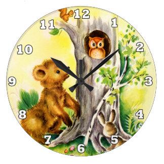 Relógio Grande Pulso de disparo de parede dos miúdos dos animais