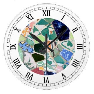 Relógio Grande Pulso de disparo de parede dos mosaicos de Guell