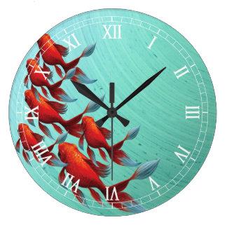 Relógio Grande Pulso de disparo de parede dos peixes de Koi