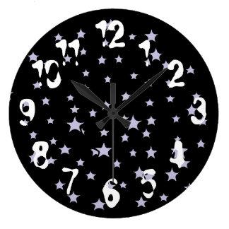 Relógio Grande Pulso de disparo de parede estrelado do preto da