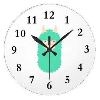 Relógio Grande Pulso de disparo de parede feliz de Emoji do lama