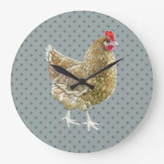 Relógio Grande Pulso de disparo de parede ilustrado da galinha