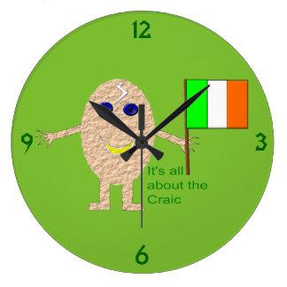 Relógio Grande Pulso de disparo de parede irlandês patriótico do