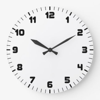 Relógio Grande Pulso de disparo de parede preto e branco