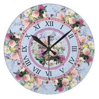 Relógio Grande Pulso de disparo de parede redondo - design floral